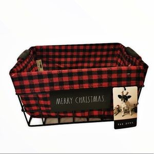 New Rae Dunn Christmas Buffalo Check Wire Basket